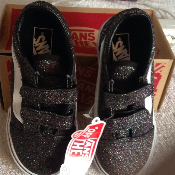 d63be34e0bde50 Vans kids old-skool rainbow black glitter shoesNIB